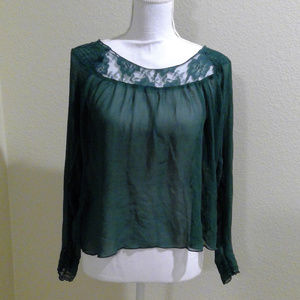 NWOT Free People Forest Green Blouse Sz10